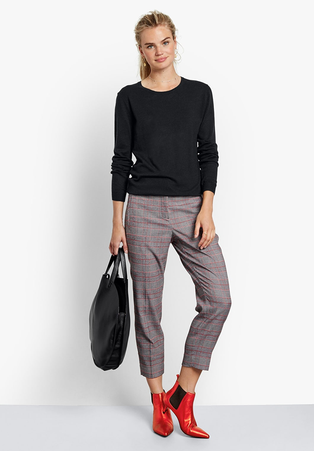 Cropped Check Trousers | hush