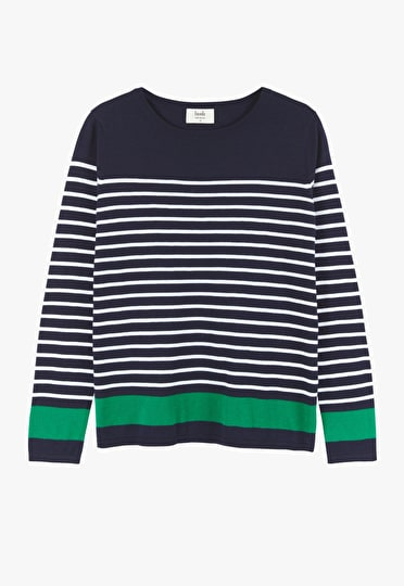 Supersoft contrast stripe jumper in midnight, white and jolly green