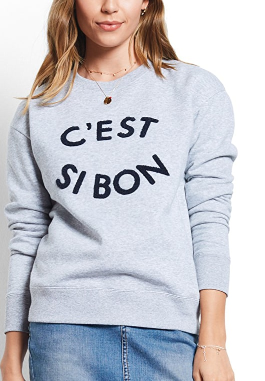 Model wears our Crew neck sweat top with 'c'est si bon' motif embroidered in grey marl and midnight