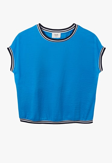 Lightweight top with contrast jersey striped hems in French Blue