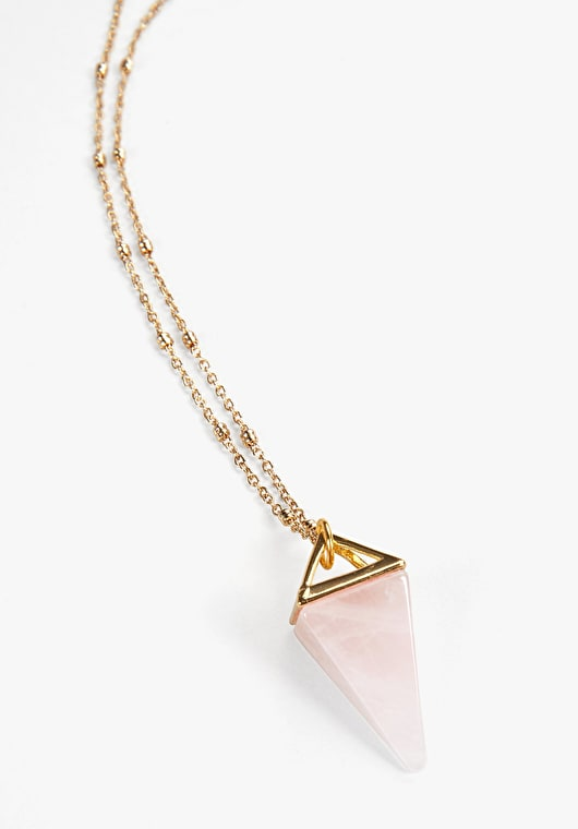 Rose quartz pyramid necklace with a long gold chain with delicately adroned beads