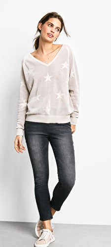 Fay V Neck Star Jumper