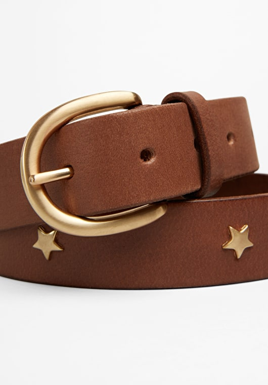 A stunning star studded brown leather belt with buckle fastening