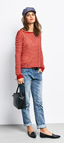 Stripe Boat Neck Jumper