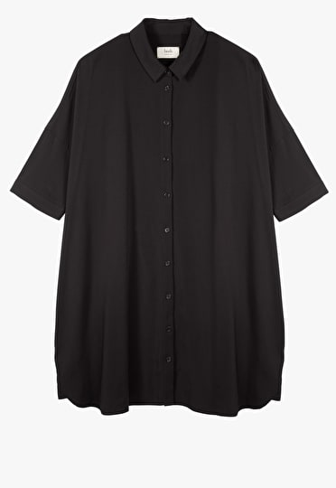 A classic black shirt dress with a gently flared skirt and short sleeves