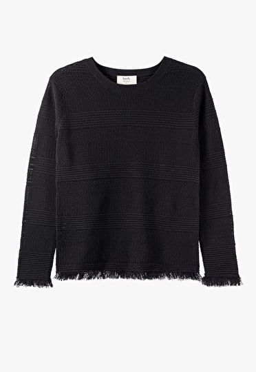 Soft knitted stripped black frayed jumper