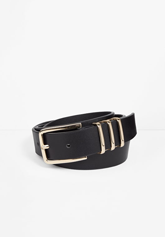Stunning black and gold leather oriel belt