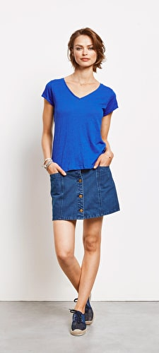 Denim A Line Mini Skirt