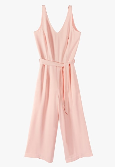Jumpsuit with a detachable belt, wide leg trousers and a v neckline in blush