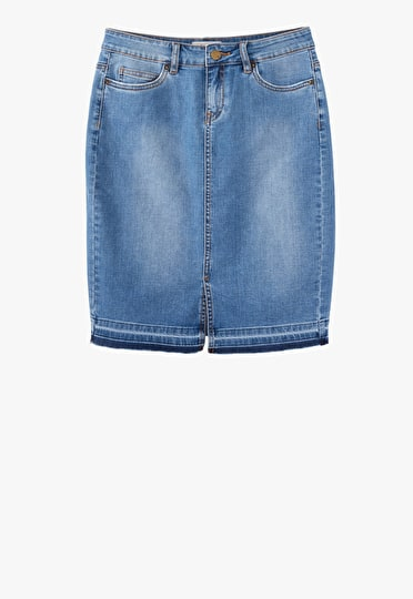 Classic blue denim pencil skirt with a striped hem and a slight front split