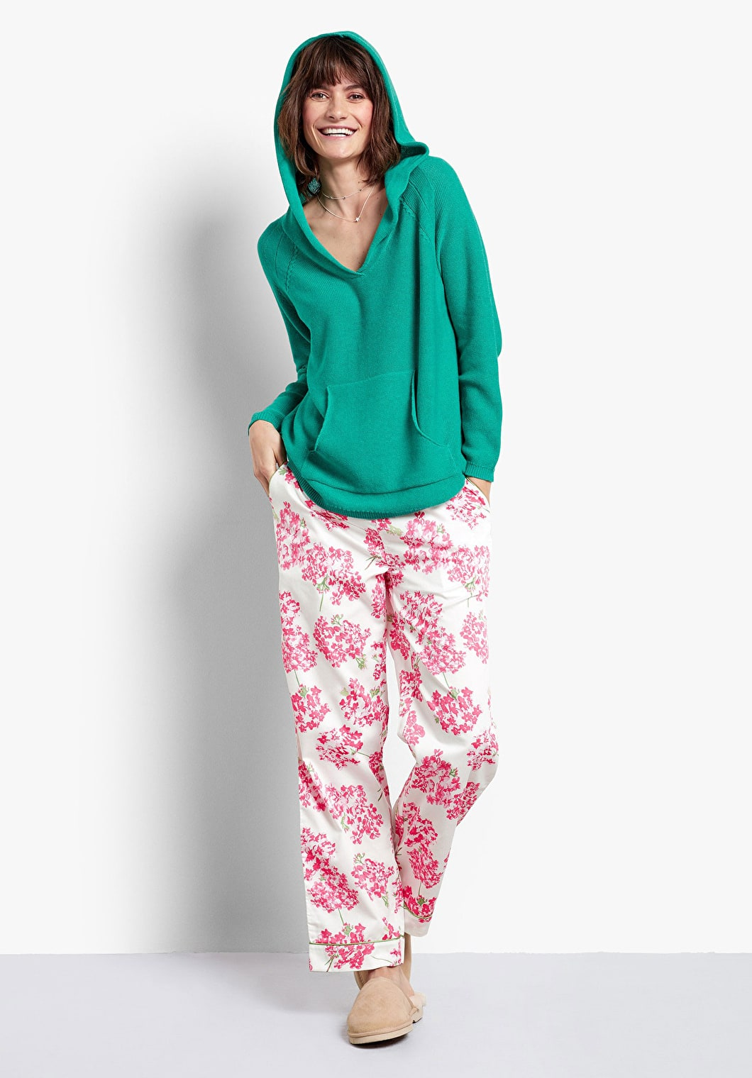 Hydrangea Piped Cotton Pj Trousers | hush