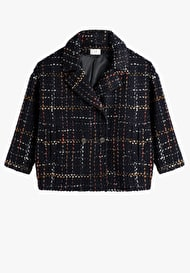 Cropped Check Coat
