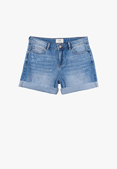 Classic denim shorts with a distressed star pattern
