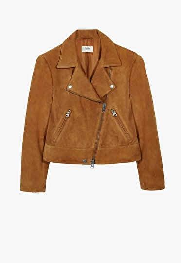 Tan suede biker jacket in a classic style and finish in a relaxed fit
