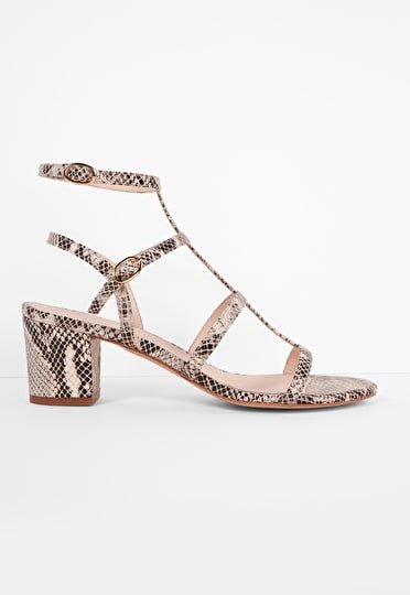Snake skin t bar sandals with multiple straps buckle fastening and a block heel