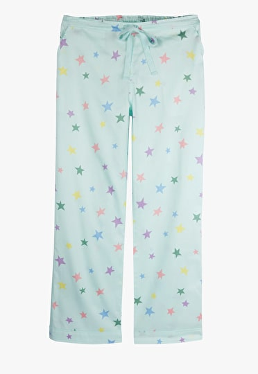 Mint Green pyjama trousers with multi coloured pastel stars