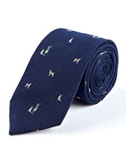 Shooter & Spaniel on Navy - Wool/Silk Tie