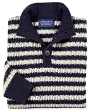Lambswool Striped Rib Button Neck - Navy/Stone