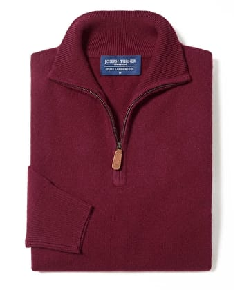 Lambswool Jumper - Half Zip - Burgundy