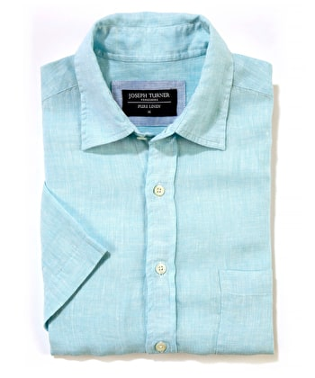 Linen Shirt - Short Sleeve - Aqua