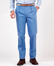 Pleated Front Chinos - Mid Blue