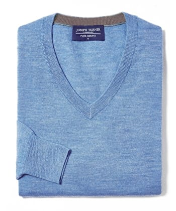 Merino Jumper - V Neck - Cornflower