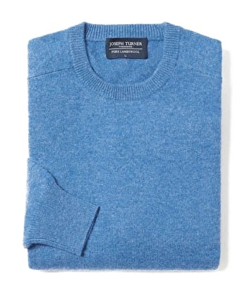 Lambswool Jumper - Crew Neck - Mid-Blue