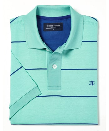 Striped Polo Shirt - Aqua/Blue