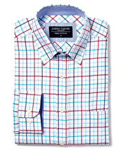 Button-Down Oxford Shirt - Magenta/Blue Check