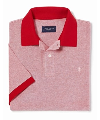 Contrast Pique Polo Shirt - Red