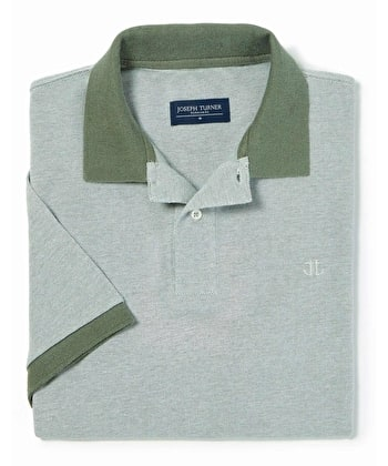 Contrast Pique Polo Shirt - Green