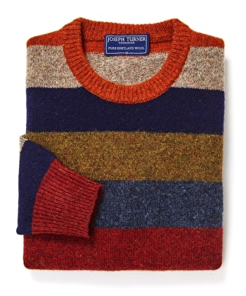Shetland Jumper - Striped Crew Neck - Multicolour