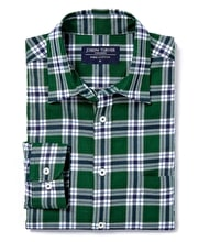 Brushed Cotton Check Shirt - Green/Navy