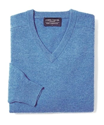 Lambswool Jumper - V Neck - Mid-Blue