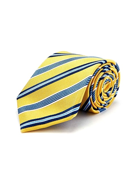 Yellow/Navy Stripe - Woven Silk Tie