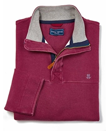 Washed Pique Half-Zip Sweatshirt - Crimson
