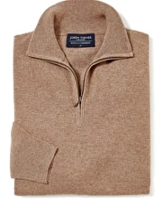 Wool/Cashmere Jumper - Half-Zip - Brown