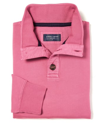 Button-Neck Sweatshirt - Dark Pink
