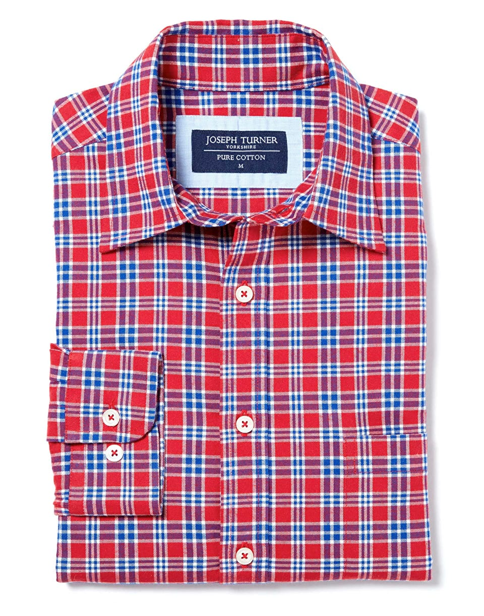 Mens Casual Shirts Brushed Cotton Check Shirt By Joseph Turner