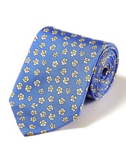 Flowers on Royal - Printed Silk Tie