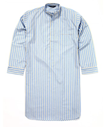 Nightshirt - Yellow/Blue Stripe - Fine Cotton