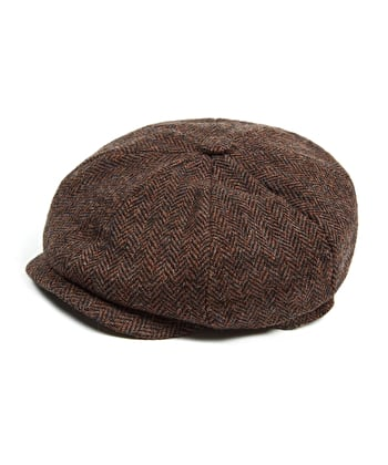 Newsboy Cap - Brown Herringbone
