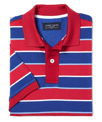 Striped Polo Shirt - Red/Blue