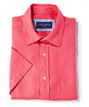Linen Shirt - Short Sleeve - Coral