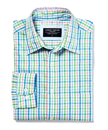 Weekend Shirt - Long Sleeve - Green/Pink/Blue Check