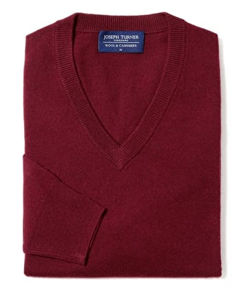 Wool/Cashmere Jumper - V Neck - Burgundy