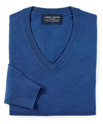 Wool/Cashmere Jumper - V Neck - Blue