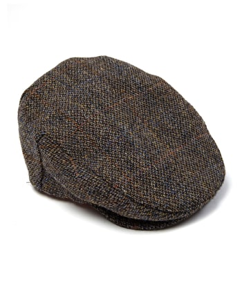 Harris Tweed Flat Cap - Blue/Grey Tweed