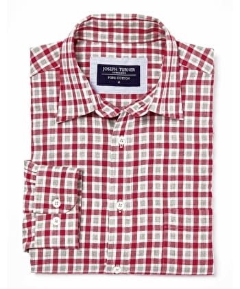 Brushed Cotton Check Shirt - Red/Grey