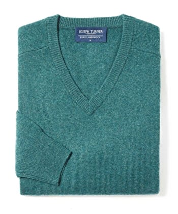 Lambswool Jumper - V Neck - Spruce